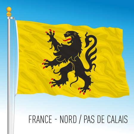 North - Pas de Calais regional flag, France, European Union, vector illustration