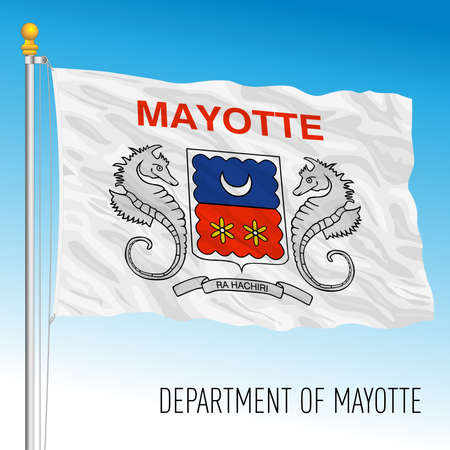 Mayotte flag, France, overseas territory, indian ocean, vector illustration