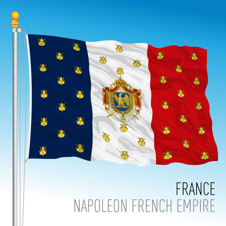 Napoleon Bonaparte French Empire flag, France, historical emblem, vector illustration Vettoriali