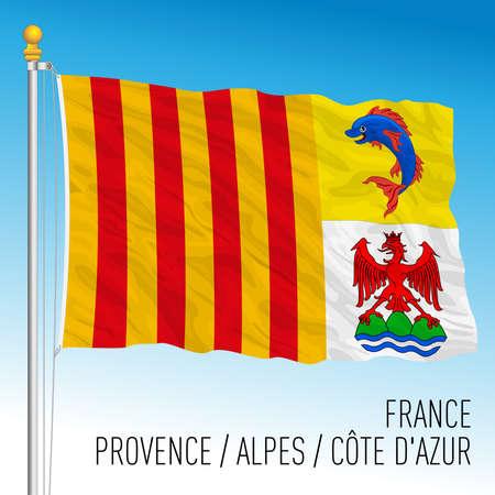 PACA regional flag, France, European Union, vector illustration