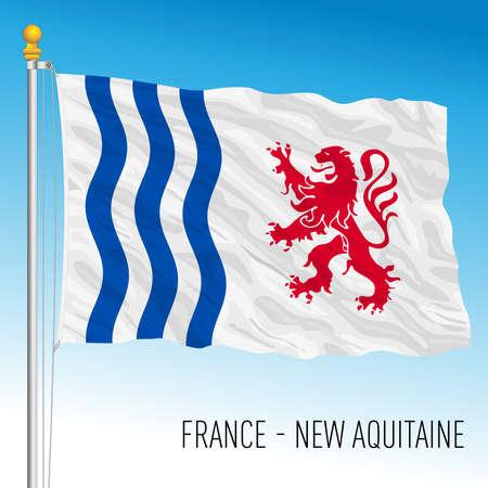 New Aquitaine regional flag, France, European Union, vector illustration Vettoriali