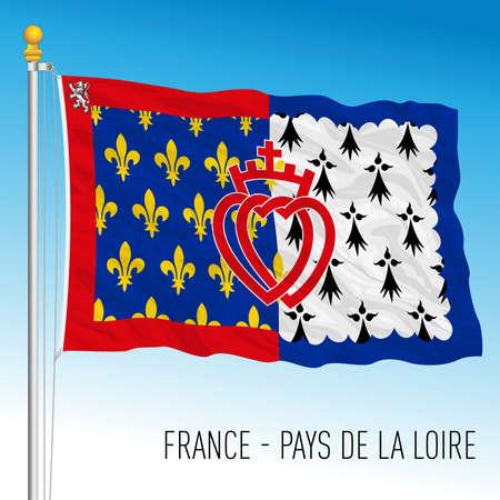 Pays de la Loire regional flag, France, European Union, vector illustration Vettoriali