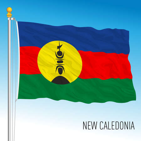New Caledonia regional flag, France, overseas territory, vector illustration