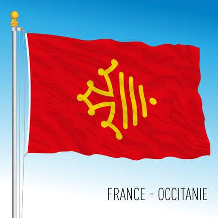 Occitanie regional flag, France, European Union, vector illustration