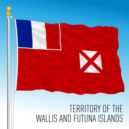 Wallis and Futuna flag, french territory overseas, Oceania, France, vector illustration