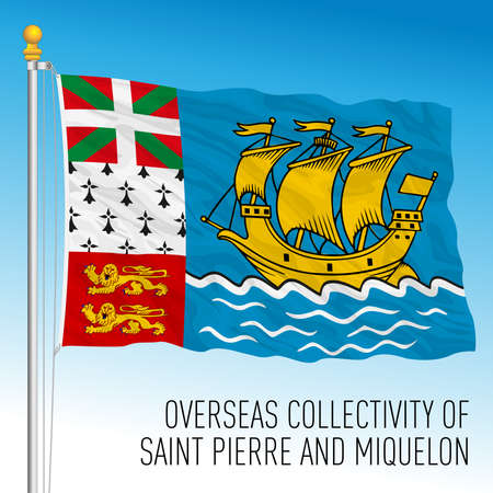 Saint Pierre and Miquelon flag, overseas french territory, France, vector illustration