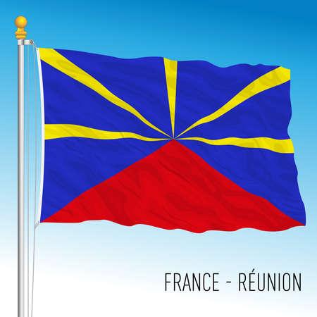 Reunion island flag, France, african overseas territory, vector illustration Vettoriali