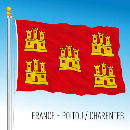 Poitu Charentes regional flag, France, European Union, vector illustration