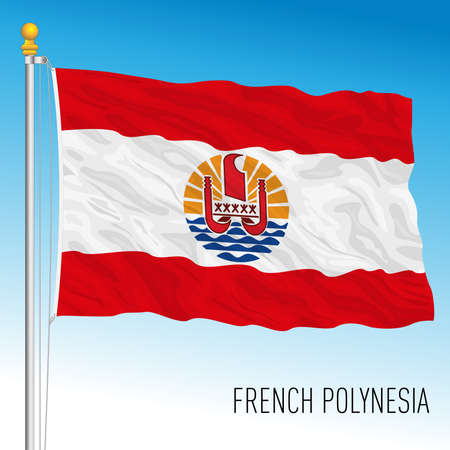 French Polynesia flag, France, overseas territory, vector illustration