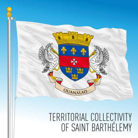 Saint Barthelemy territorial flag, France, caribbean country, vector illustration