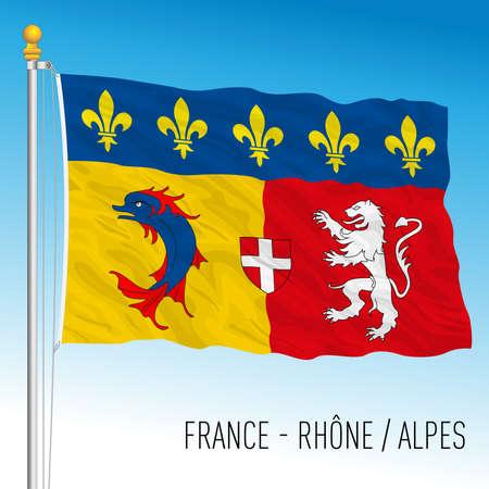 Rhone Alpes regional flag, France, European Union, vector illustration