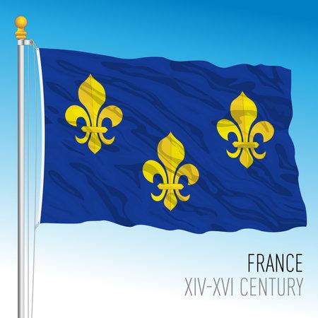 French historical flag, France, XIV XVI century, vector illustration Vettoriali