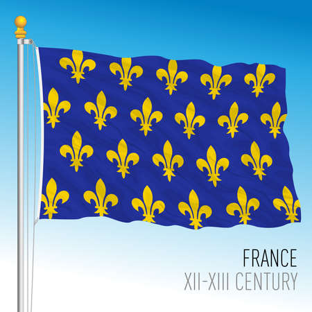 French historical flag, France, XII XIII century, vector illustration