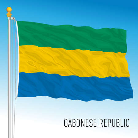 Gabon official national flag, african country, vector illustration