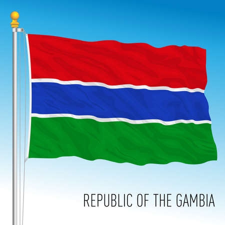 Gambia official national flag, african country, vector illustration
