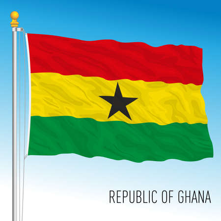 Ghana official national flag, african country, vector illustration Vettoriali