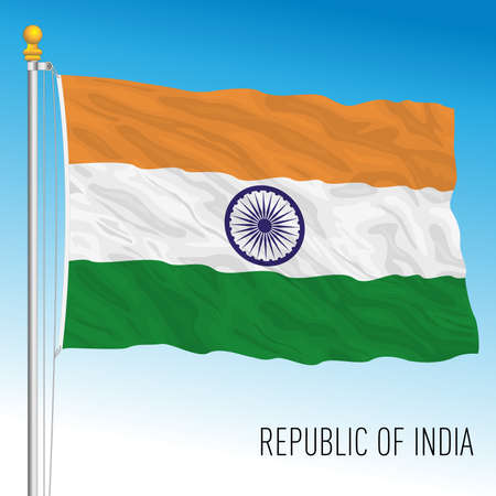 India official national flag, asiatic country, vector illustration