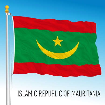 Mauritania official national flag, african country, vector illustration