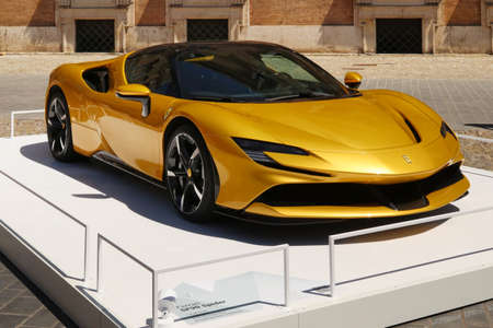 Modena, Italy, july 1 2021 - Ferrari SF90 Spider sport car detail, Motor Valley Exhibition