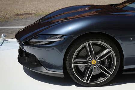 Modena, Italy, july 1 2021 - Ferrari Roma sport car detail, Motor Valley Exhibition
