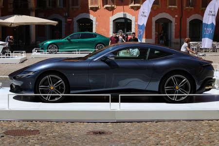 Modena, Italy, july 1 2021 - Ferrari Roma sport car, Motor Valley Exhibition