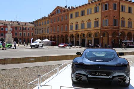 Modena, Italy, july 1 2021 - Ferrari Roma sport car, Roma square, Modena, Motor Valley Exhibition Editoriali