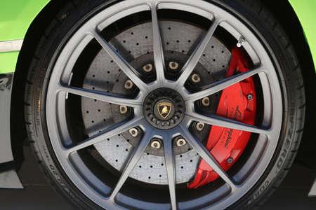Modena, Italy, july 1 2021 - Lamborghini Aventador SVJ sport car wheel detail, Motor Valley Exhibition Editoriali