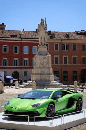 Modena, Italy, july 1 2021 - Lamborghini Aventador SVJ sport car, Roma square in Modena city, Motor Valley Exhibition Editoriali