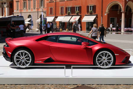 Modena, Italy, july 1 2021 - Lamborghini Huracan Evo RWD sport car, Motor Valley Exhibition
