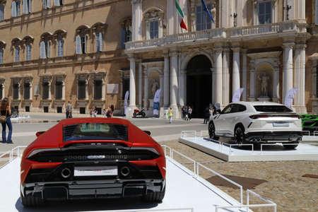 Modena, Italy, july 1 2021 - Lamborghini Huracan Evo RWD sport car in the Roma square, Modena, Motor Valley Exhibition