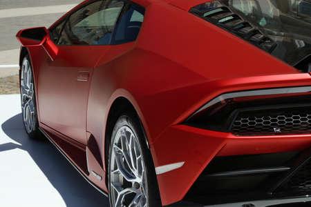 Modena, Italy, july 1 2021 - Lamborghini Huracan Evo RWD sport car detail, Motor Valley Exhibition