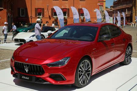 Modena, Italy, july 1 2021 - Maserati Ghibli Trofeo sport car, Motor Valley Exhibition Editoriali