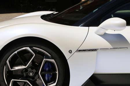 MODENA, ITALY, July 1 2021 - Motor Valley Fest exhibition, Maserati MC20 detail Editoriali