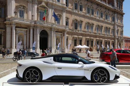 MODENA, ITALY, July 1 2021 - Motor Valley Fest exhibition, Maserati MC20 in the Roma square, Modena Editoriali