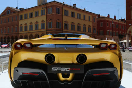 MODENA, ITALY, July 1 2021 - Motor Valley Fest exhibition, ferrari SF90 Spider back side detail in the square Editoriali