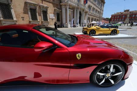 MODENA, ITALY, July 1 2021 - Motor Valley Fest exhibition, ferrari car detail Editoriali