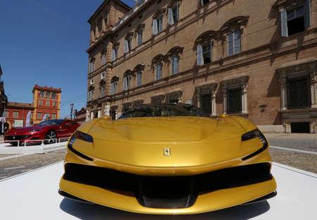 Modena, Italy, july 1 2021 - Ferrari SF90 Spider sport car, Motor Valley Exhibition, Modena
