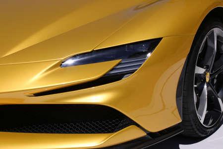 MODENA, ITALY, July 1 2021 - Motor Valley Fest exhibition, Ferrari SF90 Spider detail