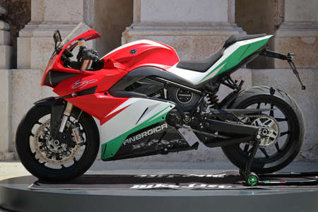 MODENA, ITALY, July 1 2021 - Motor Valley Fest exhibition, Energica Ego + RS, electric-powered motorcycle