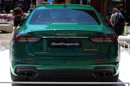 MODENA, ITALY, July 1 2021 - Motor Valley Fest exhibition, Maserati Quattroporte back side detail