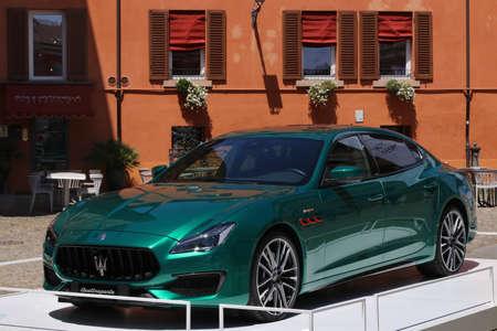 MODENA, ITALY, July 1 2021 - Motor Valley Fest exhibition, Maserati Quattroporte car detail