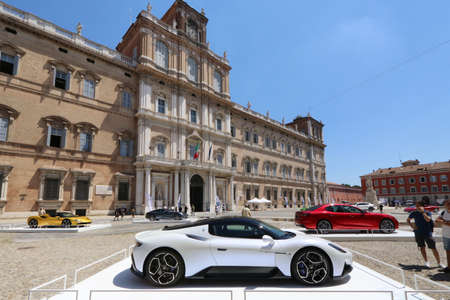 MODENA, ITALY, July 1 2021 - Motor Valley Fest exhibition, Maserati MC20 in the square