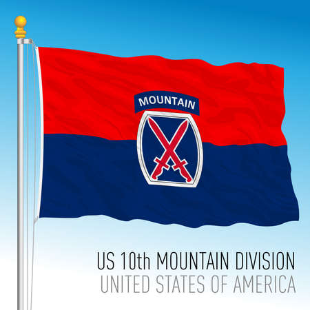 US 10th Mountain Division flag, United States of America, vector illustration