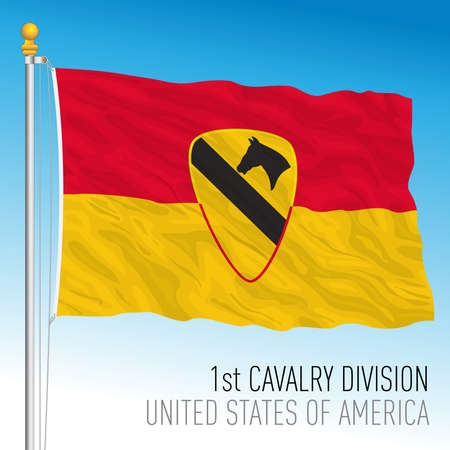 US 1st Cavalry Division flag, United States of America, vector illustration