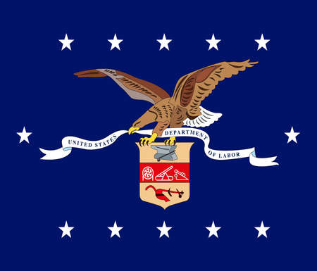 US Department of Labor flag, United States of America, vector illustration