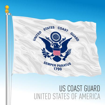 US Coast Guard flag, United States of America, vector illustration 向量圖像