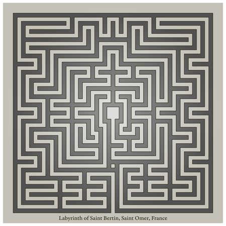 Labyrinth of Saint Bertin, Saint Omer, France, vector illustration