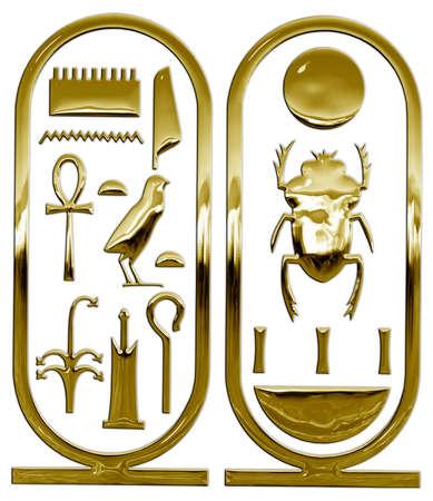 Gold cartouche of Tutankhamun, pharaoh of ancient egypt, graphic elaboration 版權商用圖片