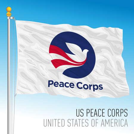 US Peace Corps organization flag, United States of America, vector illustration