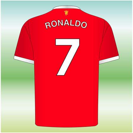 Manchester, UK, August 2021, Ronaldo number 7 shirt, new manchester united player, football team 新聞圖片